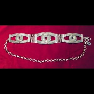 CHICO'S chunky Silver Tone Belt M/L